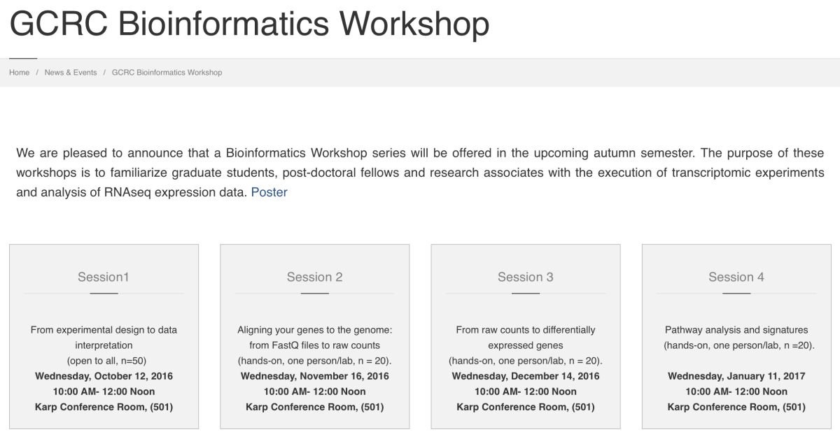 GCRC Bioinformatics Workshops